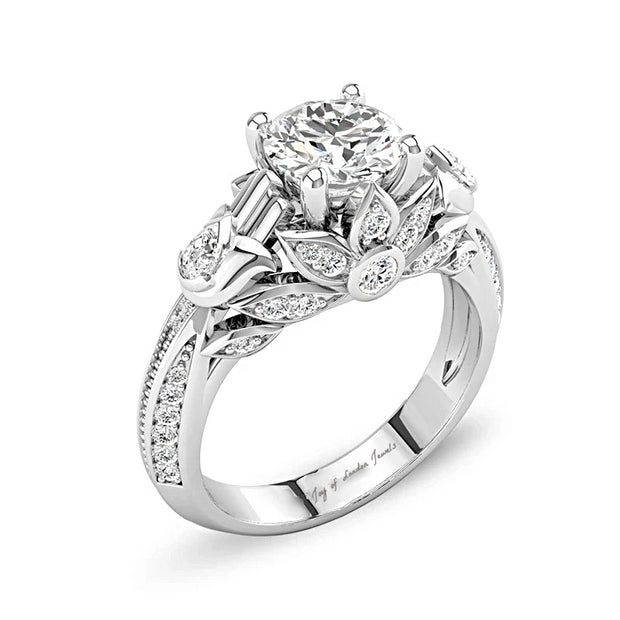 A Tribute Lotus Stone Floral Engagement Ring - Joy of London Jewels