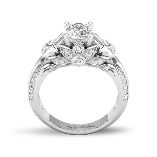 A Tribute Lotus Stone Floral Engagement Ring