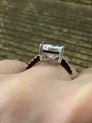 14K White Gold 4CT Emerald Cut Moissanite Diamond Solitaire Engagement Ring - Joy of London Jewels
