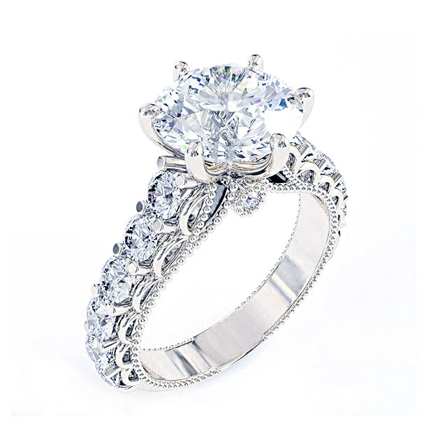 A Vintage Style 14K White Gold 2CT Round Cut Moissanite Engagement Ring - Joy of London Jewels