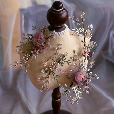 Antique Pastel Rosebud Bridal Wedding Hairband