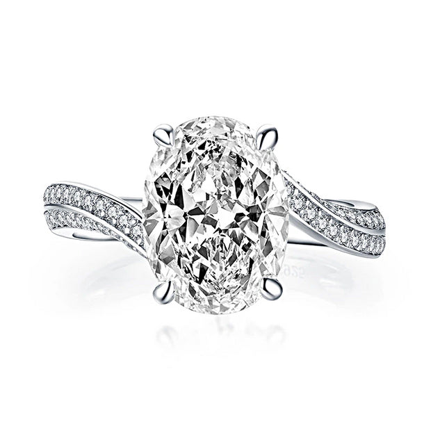 A 3.2CT Oval Cut Belgium Lab Diamond Solitaire Engagement Ring