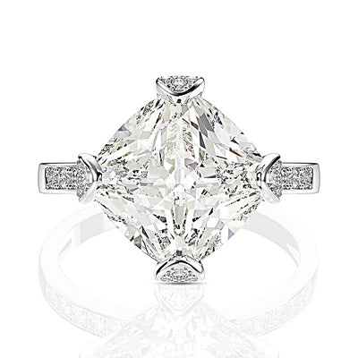 A Flawless 4CT Princess Cut Geometric  Belgium Lab Diamond Bridal Set - Joy of London Jewels