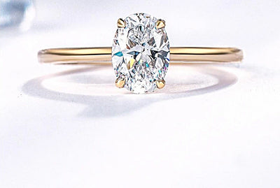 9K Yellow Gold Oval Cut Moissanite Diamond Solitaire Engagement Ring - Joy of London Jewels