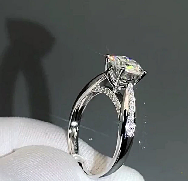 14K White Gold 1CT Round Brilliant Cut Moissanite Diamond Engagement Ring