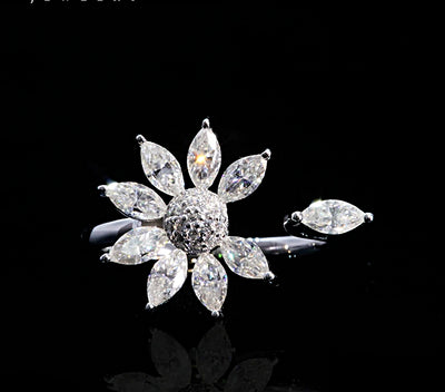 14K White Gold Marquise Cut Moissanite Floral Engagement Ring