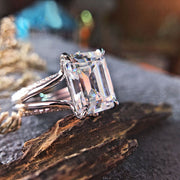 18K White Gold 5CT Emerald Cut Moissanite Engagement Ring
