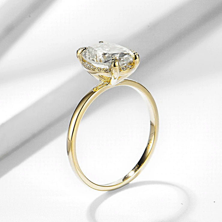 10K Yellow Gold 2CT Oval Cut Moissanite Diamond Solitaire Engagement Ring - Joy of London Jewels