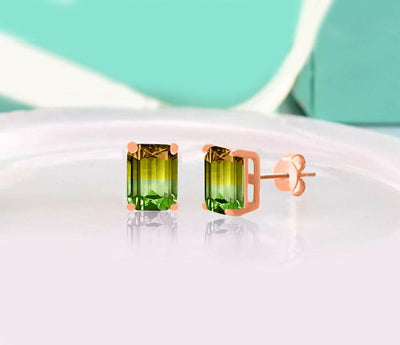 5TCW Emerald Cut Citrine/Emerald Stud Earrings - Joy of London Jewels