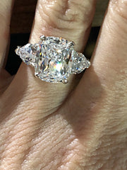 A Flawless 4.5CT Elongated Cushion Cut Belgium Lab Diamond Engagement Ring