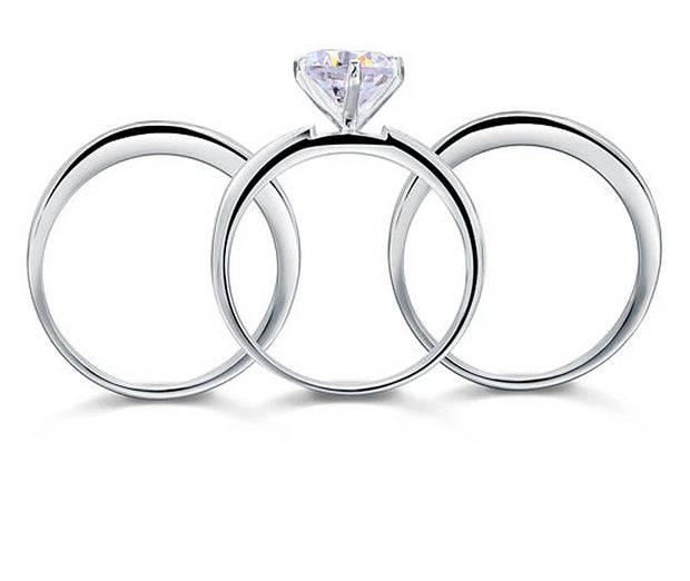 A Flawless 2CT Round Cut Belgium Lab Diamond Three Ring Bridal Set