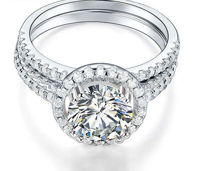 A Flawless 2CT Round Cut Belgium Lab Diamond Bridal Set - Joy of London Jewels