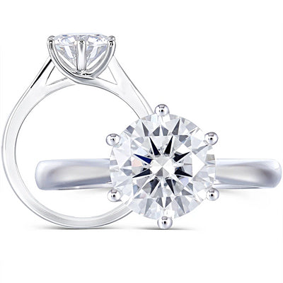 A 2CT (8mm) Round Cut Moissanite Solitaire Engagement Ring