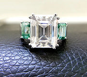 14K White Gold 2.6CT Emerald Cut Moissanite Engagement Ring - Joy of London Jewels