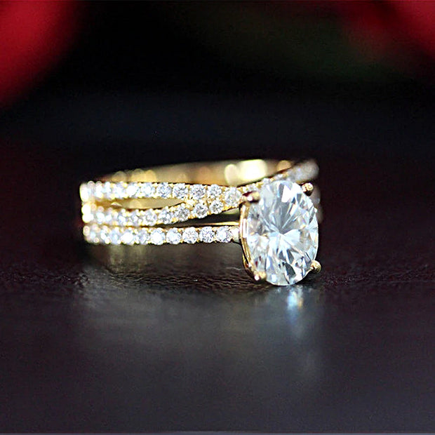 14K Yellow Gold 2CT Oval Cut Moissanite Bridal Set