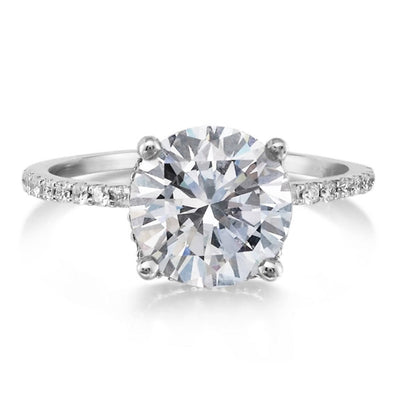 14K White Gold 1CT Round Cut Moissanite Engagement Ring