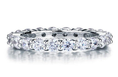 A Flawless 2.25TCW Round Cut Belgium Lab Diamond Full Eternity Ring