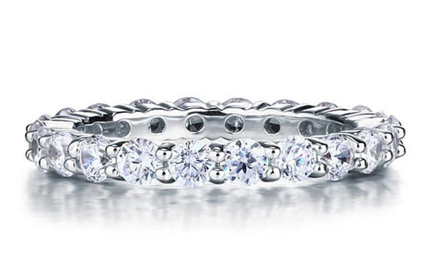 A Flawless 1.55TCW Round Cut Belgium Lab Diamond Full Eternity Ring