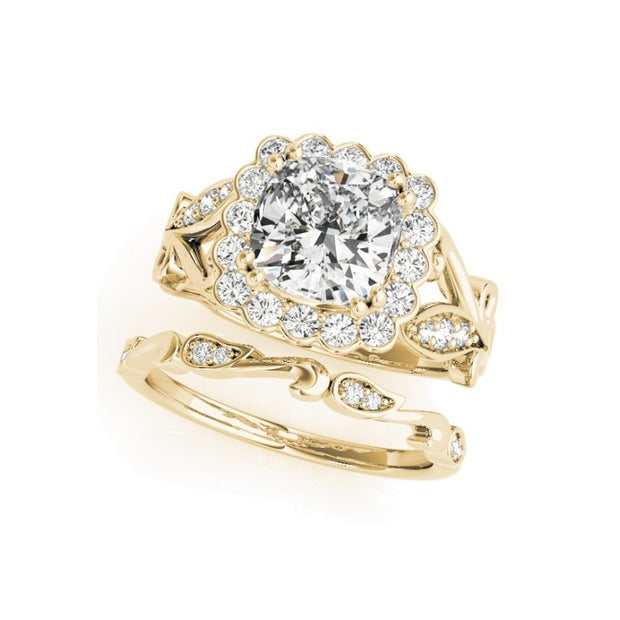 A Flawless Vine Style Cushion Cut Halo Belgium Lab Diamond Bridal Set - Joy of London Jewels
