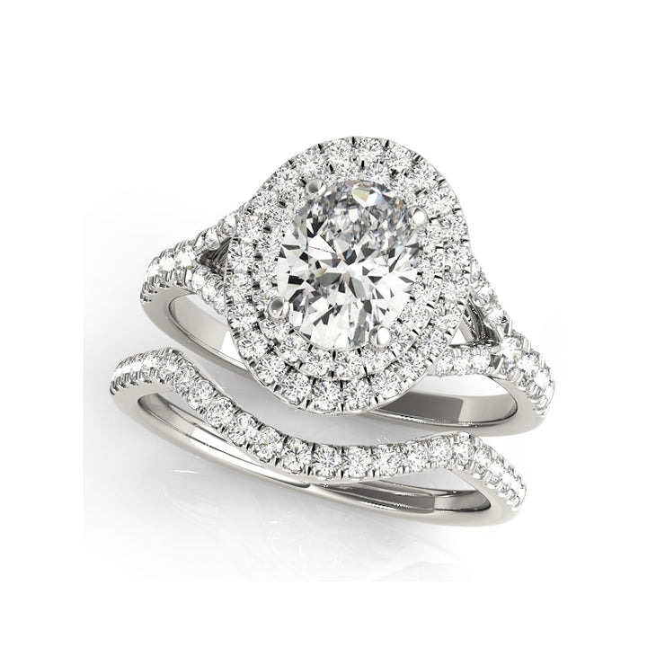 A Flawless Oval Cut Double Halo Belgium Lab Diamond Bridal Set - Joy of London Jewels