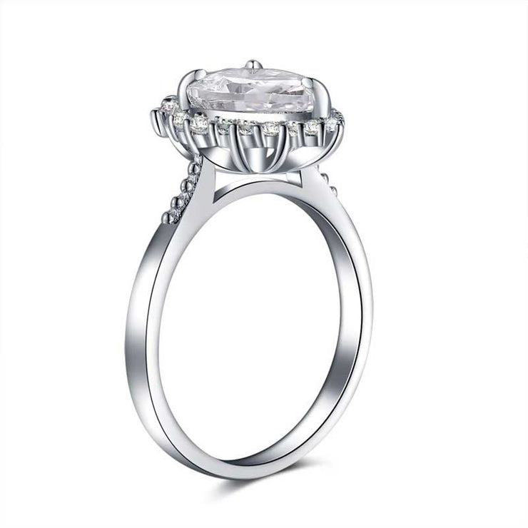A Flawless 2CT Pear Cut Halo Belgium Lab Diamond Engagement Ring - Joy of London Jewels