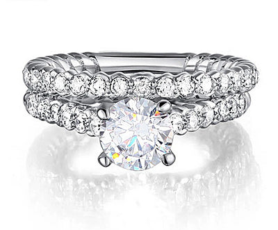 A Flawless 1CT Round Cut Belgium Lab Diamond Bridal Set - Rings