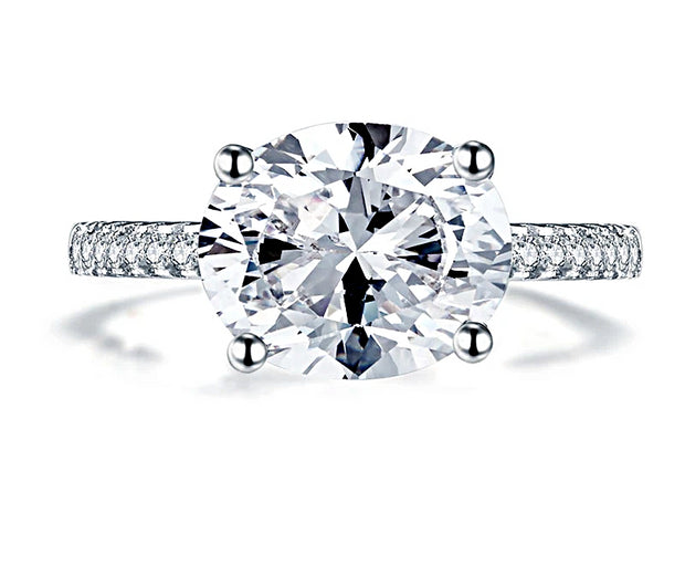 A Classic 3.9CT Oval East West Belgium Lab Diamond Solitaire Engagement Ring