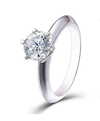 A 1CT Round Cut Moissanite Diamond Solitaire Engagement Ring