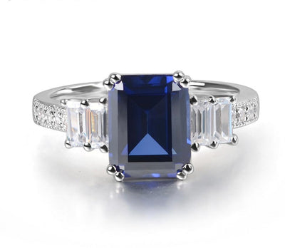 A Perfect Emerald Cut Blue Sapphire Engagement Ring