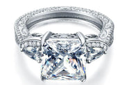 A Vintage Style 4CT Princess Cut Belgium Lab Diamond Ring