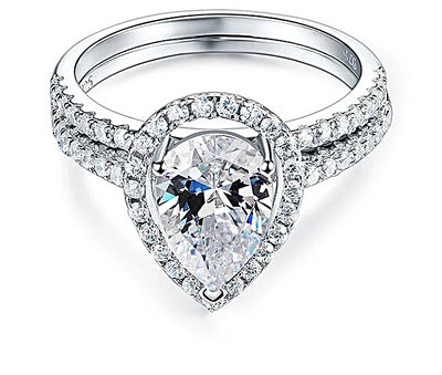 A Flawless 2CT Pear Belgium Lab Diamond Bridal Set