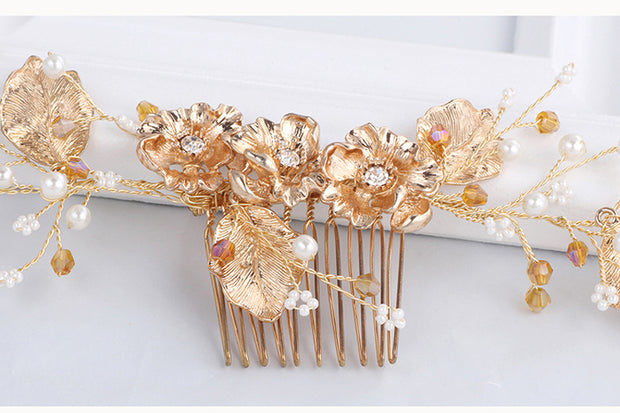 Handmade Gold Leaf Pearl Crystal Bridal Hair Comb