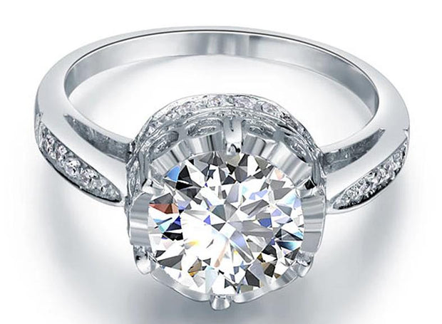 A Flawless 2.5CT Round Cut Belgium Lab Diamond Engagement Ring