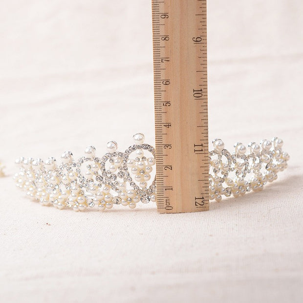Silver Bridal Headband Tiara with Crystals & Pearls