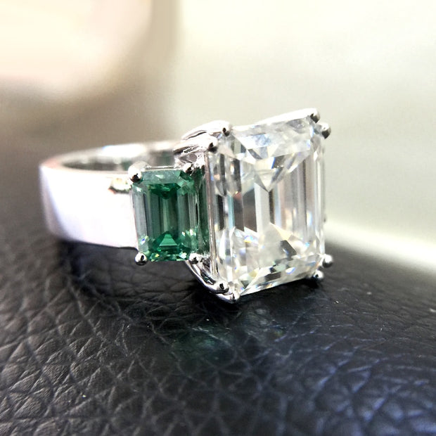 14K White Gold 5.3CT Emerald Cut Moissanite Engagement Ring - Joy of London Jewels