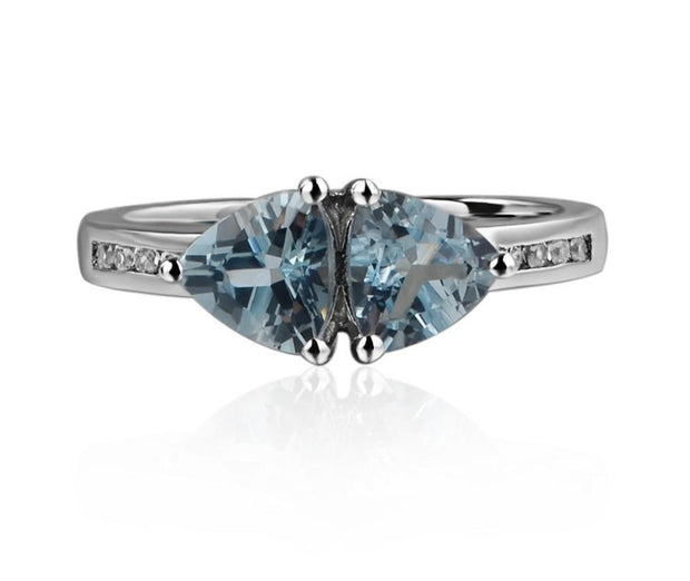 Natural Aquamarine Trillion Cut Engagement Ring - March Birthstone Ring - Joy of London Jewels