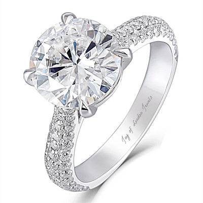 14K White Gold 4CT (10mm) Round Brilliant Cut Moissanite Engagement Ring