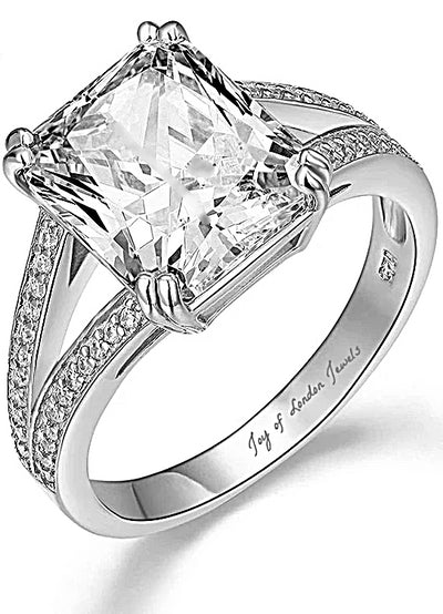 Flawless 6CT Radiant Cut Russian Lab Diamond Solitaire Split Shank Engagement Ring - Rings