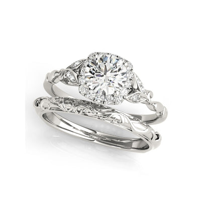 A Flawless Vine Style Round Cut Halo Belgium Lab Diamond Bridal Set