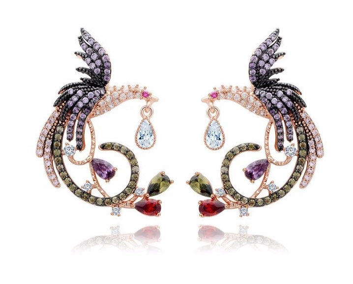 14K Rose Gold Royal Griffin Earrings - Joy of London Jewels