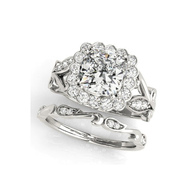 A Flawless Vine Style Cushion Cut Halo Belgium Lab Diamond Bridal Set