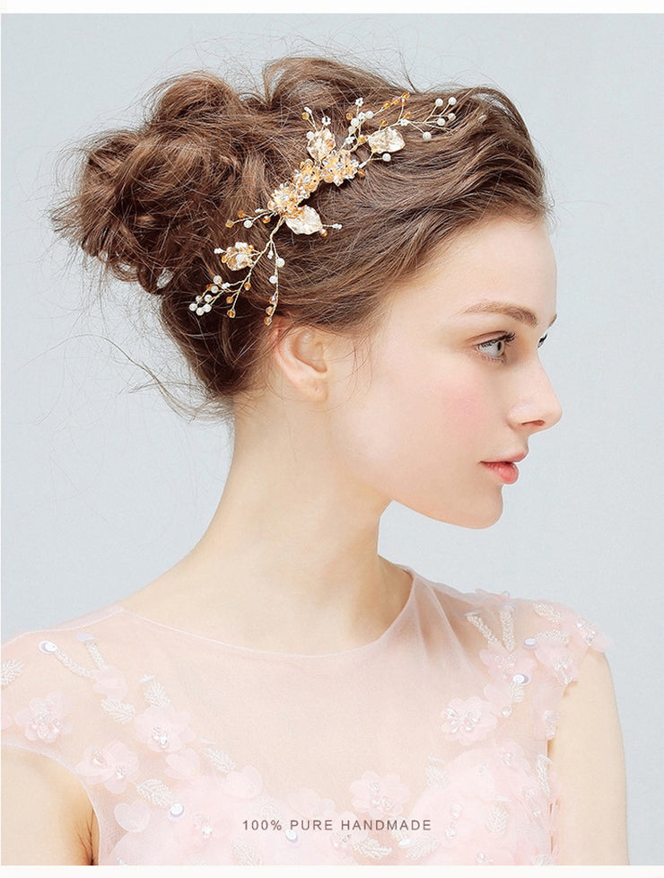 Handmade Gold Leaf Pearl Crystal Bridal Hair Comb - Joy of London Jewels