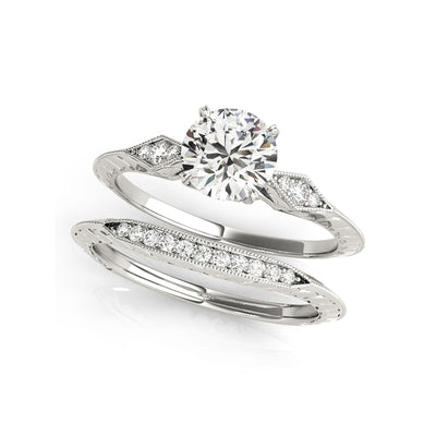 A Flawless 1CT Round Cut Halo Belgium Lab Diamond Bridal Set