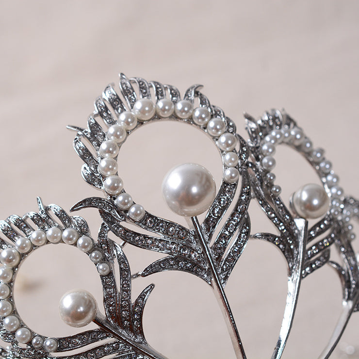 LIMITED EDITION Silver Bridal Headband Tiara with Crystals & Pearls