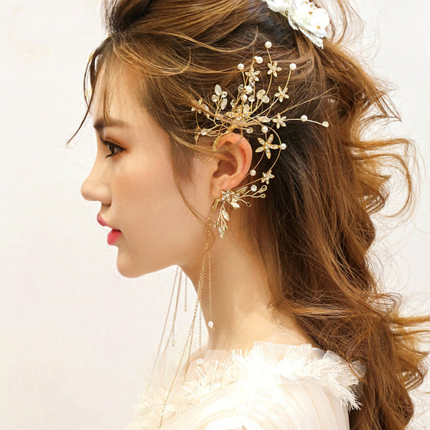 Handmade Prom Bridal Pearl Crystal Floral Earcuffs - Joy of London Jewels