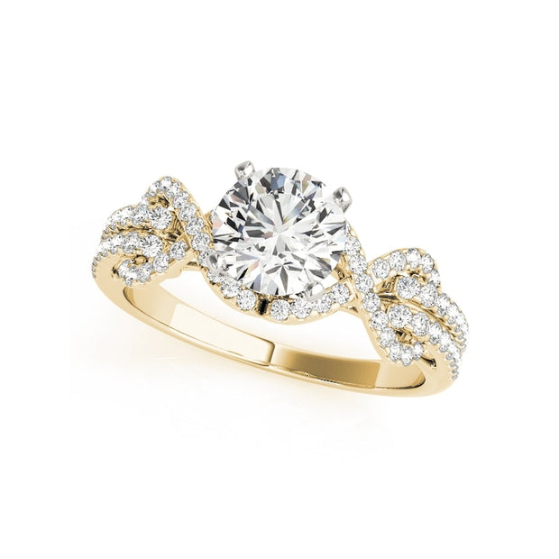 A Flawless Gold 1CT Round Cut Halo Belgium Lab Diamond Engagement Ring