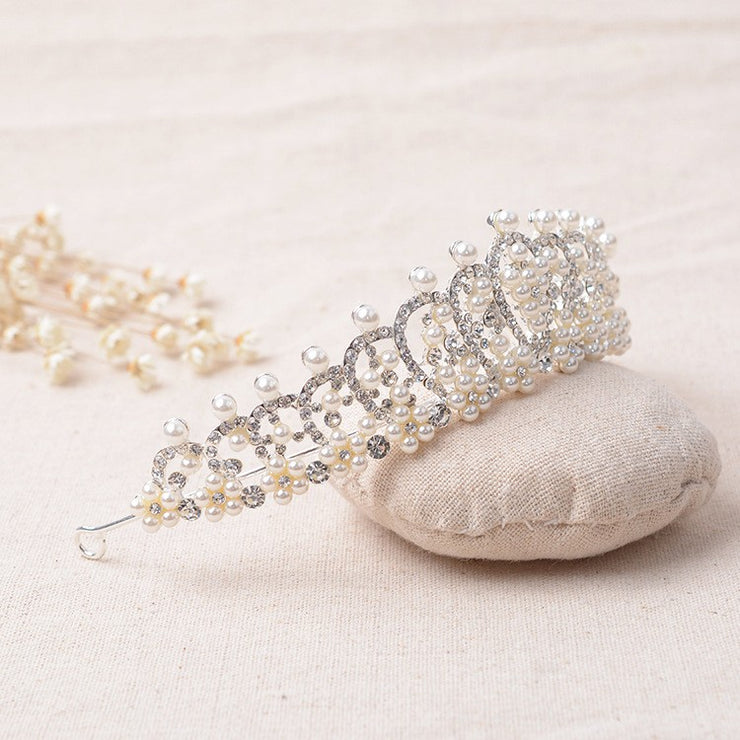 SALE  Silver Bridal Headband Tiara with Crystals & Pearls - Joy of London Jewels