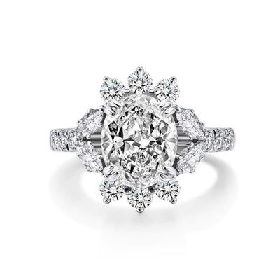 A 3.6CT Oval Cut Belgium Lab Diamond Solitaire Engagement Ring