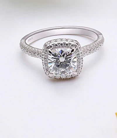 A 14K White Gold 1CT Cushion Cut Moissanite Halo Engagement Ring
