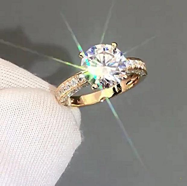 14K Yellow Gold 4CT Round Brilliant Cut Moissanite Diamond Engagement Ring